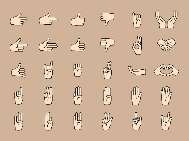 Illustration of hands gesture set in thin line