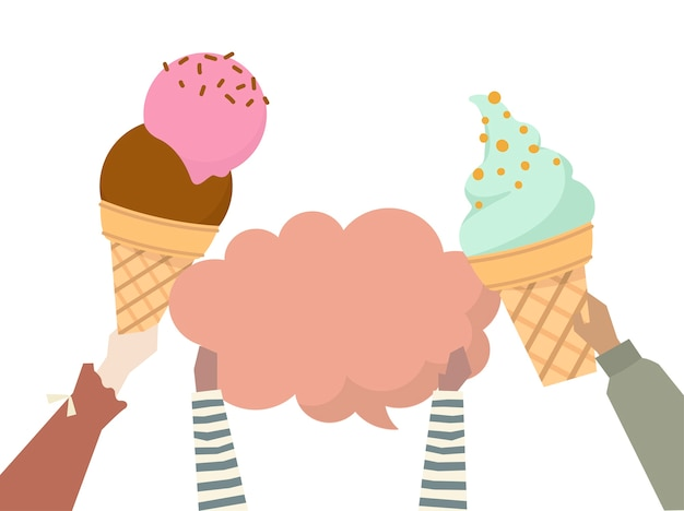 Illustration hands holding colorful ice creams