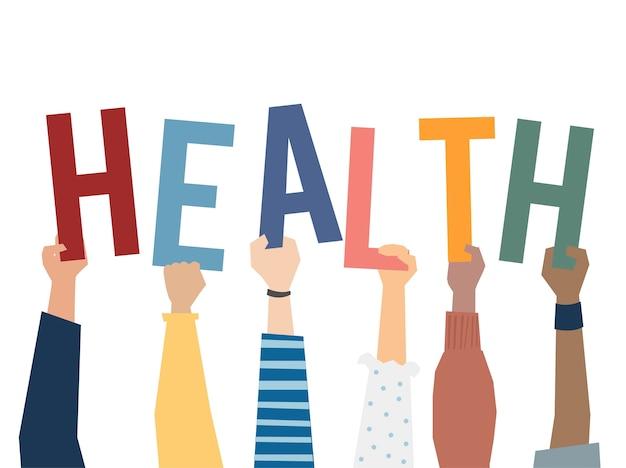 Illustration of hands holding health word