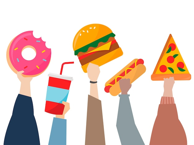Illustration of hands holding junk food