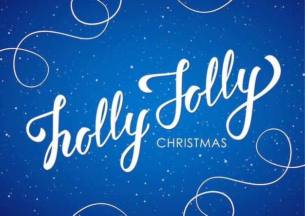 삽화. 선 장식 파란색 배경에 홀리 졸리 크리스마스의 필기 우아한 현대 브러시 글자.