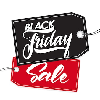 Illustration: handwritten type lettering of black friday sale on tags