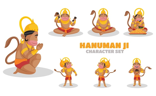 Illustration of hanuman ji character set