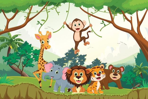 Illustration of happy animal in the jungle