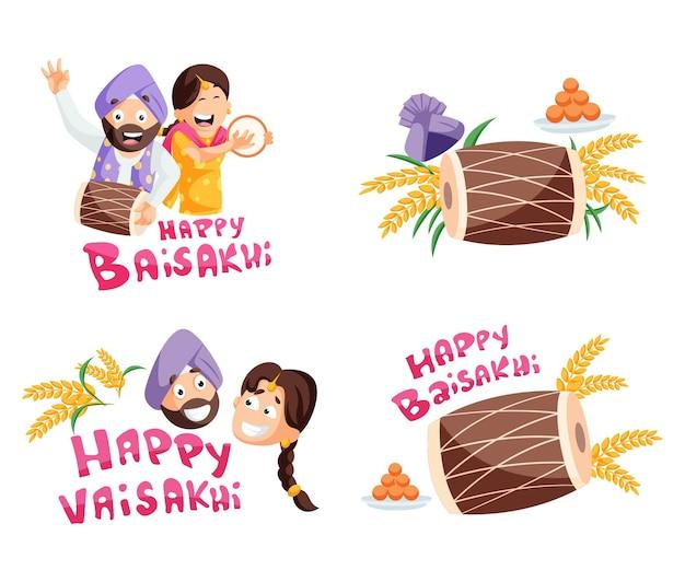 Illustration of happy baisakhi character set