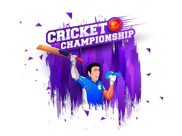 Illustration of a happy batsman on purple grungy background. cricket championship concept.