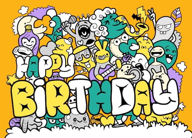 Illustration of happy birthday with doodle cute monster   hand drawing doodle