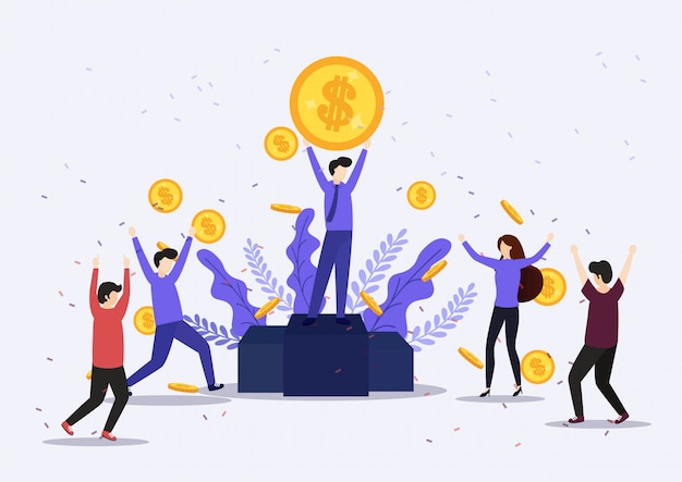 Illustration of happy business team celebrates success standing under money rain banknotes cash falling on blue background.