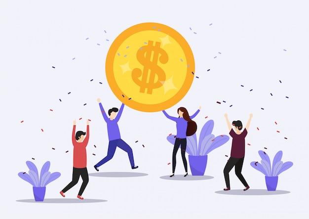 Illustration of happy business team celebrates success.