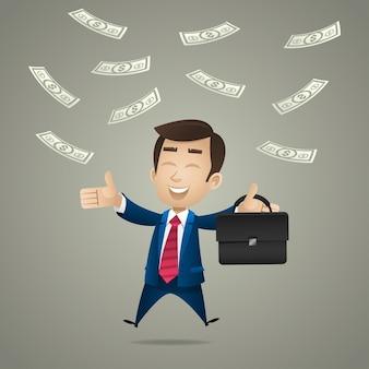 イラスト、ドルの雨の下で幸せなビジネスマン、フォーマットeps 10