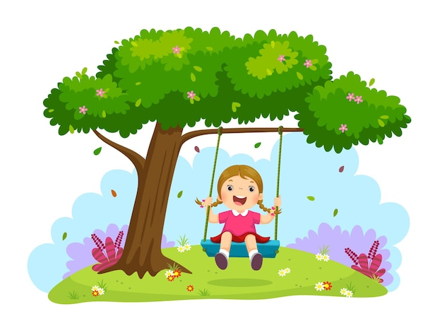 Illustration of happy child girl laughing and swinging on a swing under the tree