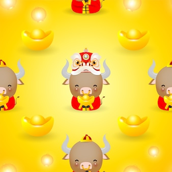 Illustration of happy chinese new year of the ox zodiac cute cow in red costume and lion dance with gold money seamless pattern