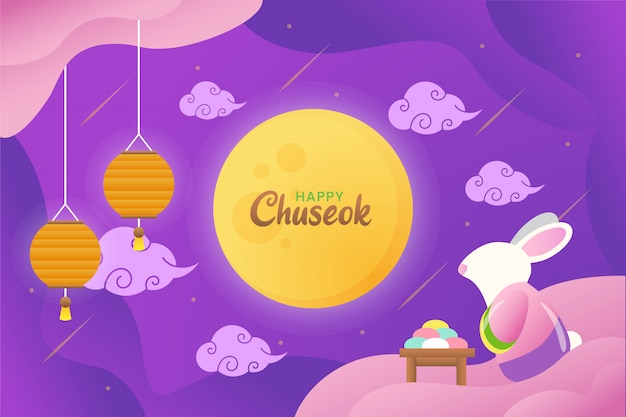 Illustration of happy chuseok with cute rabbit staring to the moon with lanterns and cake