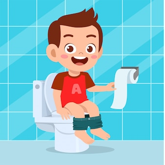 Illustration of happy cute boy sit on the toilet