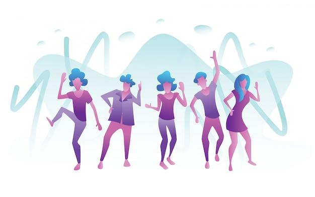 Illustration of happy dancing people
