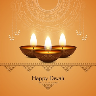 Illustration of happy diwali festival with lamps