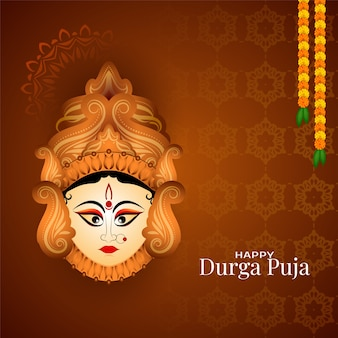 Illustration of happy durga puja festival celebration background