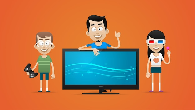 Illustration, happy family bought new plasma television, format eps 10