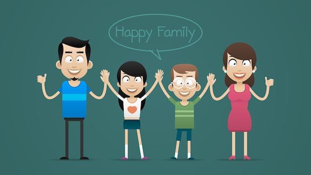 Иллюстрация, счастливая семья, держась за руки и улыбаясь, формат eps 10