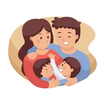 Illustration of happy family hugging each other. medical insurance image. mom and dad with daughter and son. international family day. flat style isolated on white background.