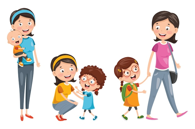 Illustration of happy family