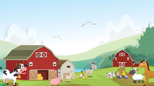 Illustration of happy farm animal cartoon