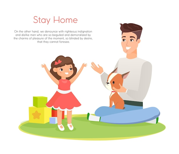Illustration of happy father playing with smiling daughter and dog, time together, staying home