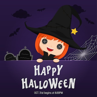 Illustration happy halloween day.  cute little girl wearing a witch costume