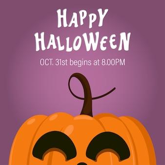 Illustration happy halloween day with cute little pumpkin