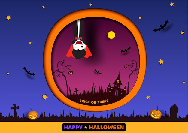 Illustration of happy halloween design with vampire to paper art on blue and orange background