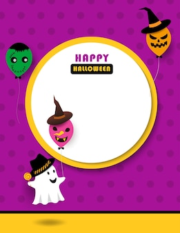 Illustration happy halloween with cute ghost and monster balloons.
