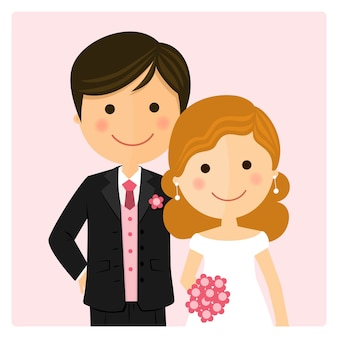 Illustration of happy just married on their wedding day and pink background