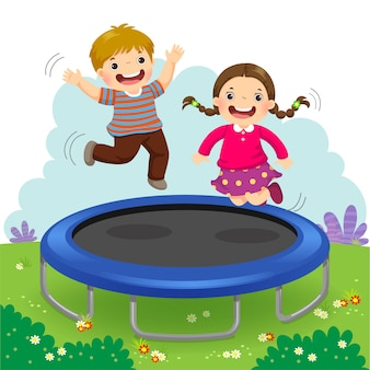 Illustration of happy kids jumping on trampoline in the backyard