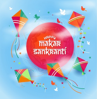 Illustration of happy makar sankranti wallpaper with kites.
