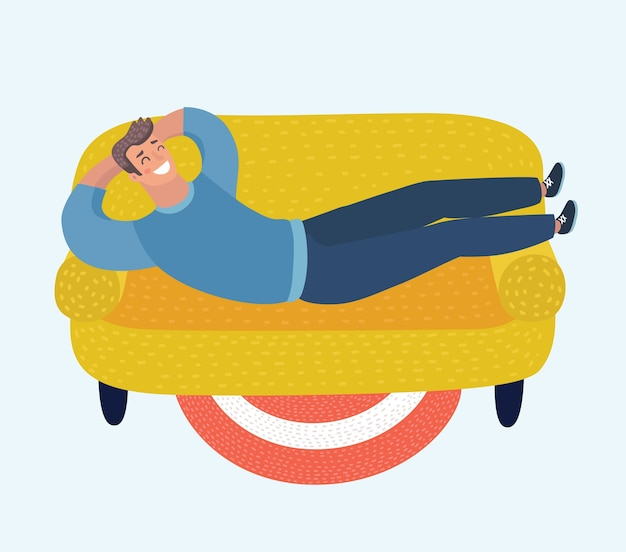 Illustration of happy man lying on sofa
