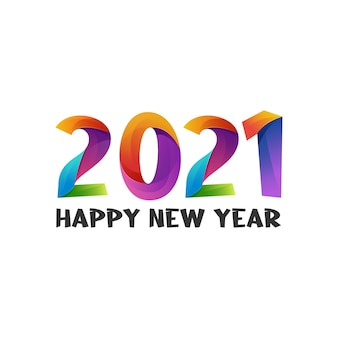 Illustration happy new year gradient colorful
