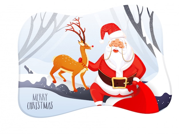 Illustration of happy santa claus holding bag with reindeer on snowy forest  for merry christmas celebration greeting card .