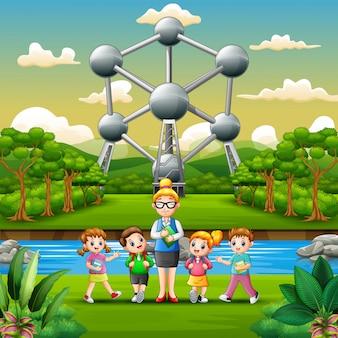 Illustration of happy school children study outdoors with teacher