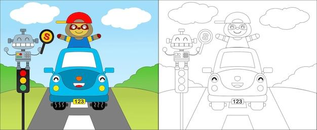 車を運転する幸せなナマケモノのイラスト