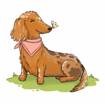 Illustration happy spotted dachshund dog with a butterfly