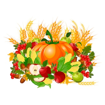 Illustration of a happy thanksgiving celebration design.