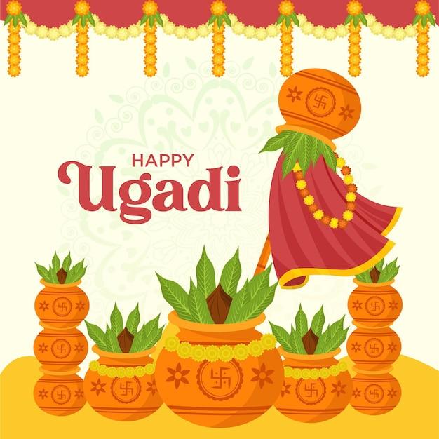 Illustration of happy ugadi   design