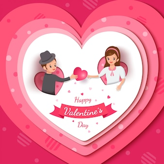 Illustration of happy valentine's day with lover on pink heart frame