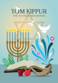 An illustration of happy yom kippur background with shofar. yom kippur means day of atonement
