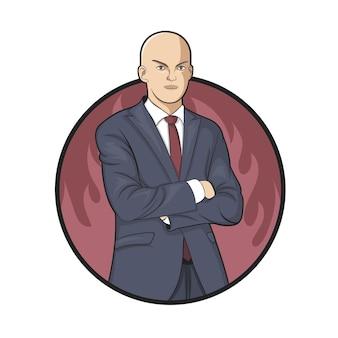 Illustration of a hard working businessman