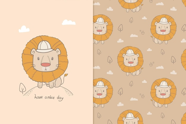 Illustration have a nice day lion seamless pattern