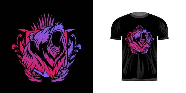 Illustration head grizzly with neon coloring for tshirt design