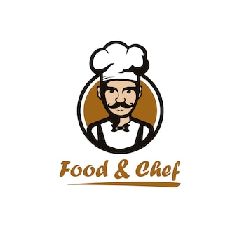Illustration of head master chef happy / smile with bowtie on circle  logo design  modern cartoon style for restaurant / food and drink