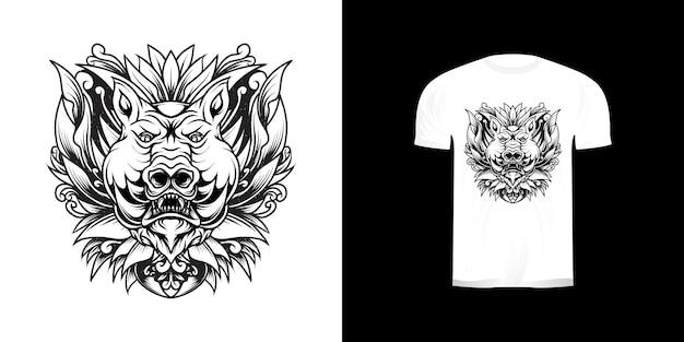 Иллюстрация головы свиньи для дизайна футболки