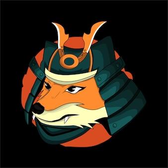 Иллюстрация голова самурай сиба ину
